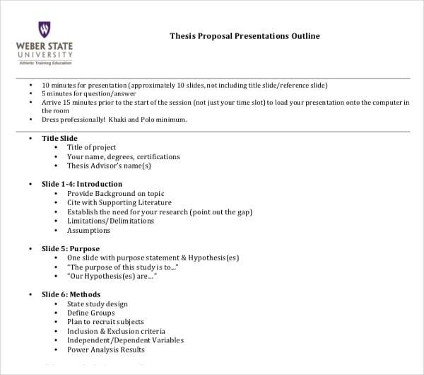Dissertation presentation outline