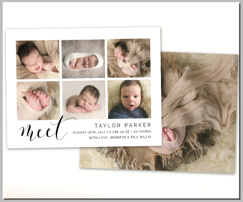 Thumbnails Baby Announcement Postcard Template