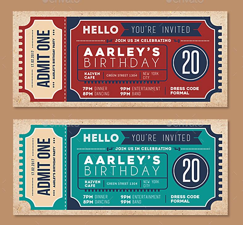 ticket birthday invitation format template 788x729