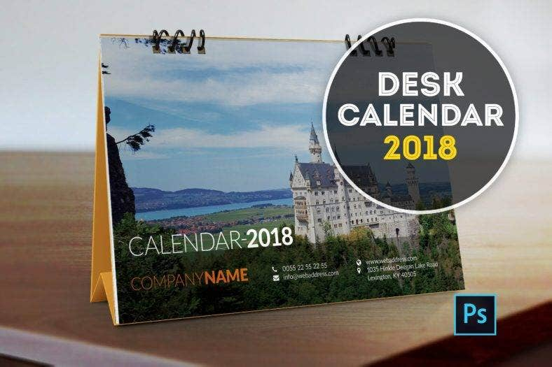 tourist spots table calendar template 788x525