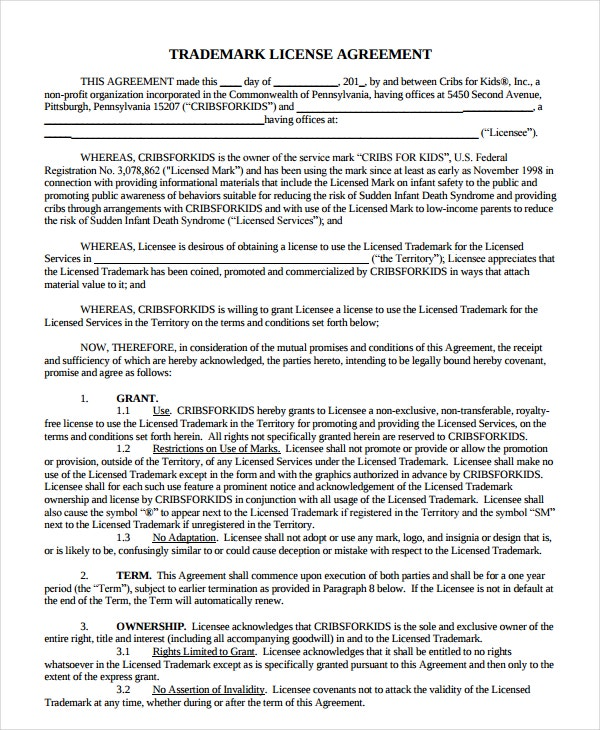 trademark license agreement example