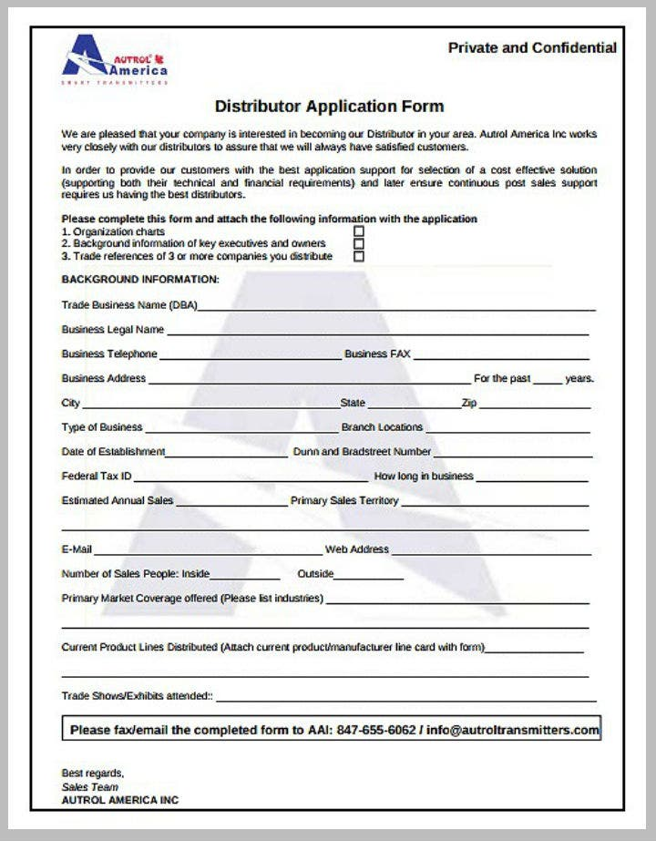 transmitter distributor application form template