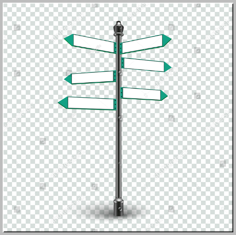 Transparent Background Multidirectional Sign Template