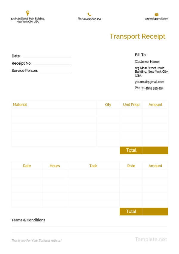 transport receipt template