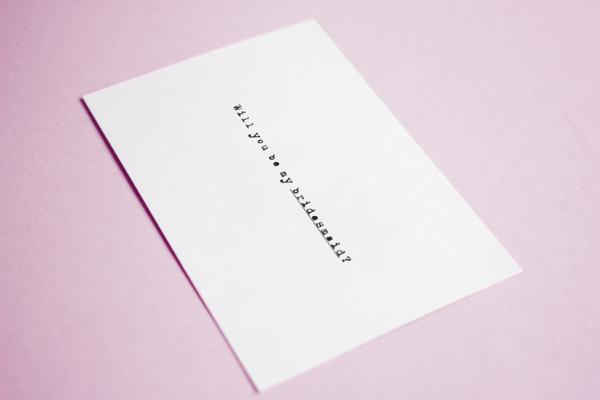 Typewriter Style Bridesmaid Postcard