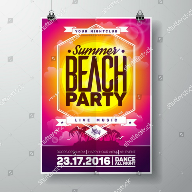 Typographic Beach Party Flyer Template