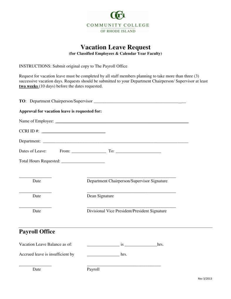 Vacation Leave Request