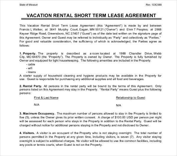 vacation short term rental agreement template