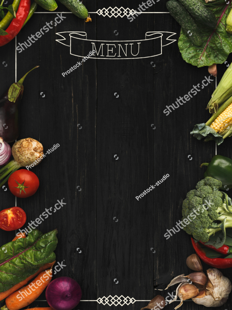 Veggie Borders Blank Menu Template