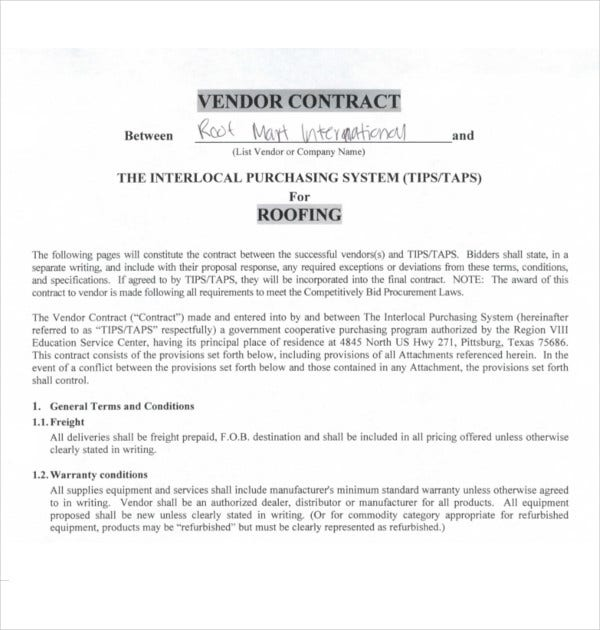 Vendor Roofing Contract Template