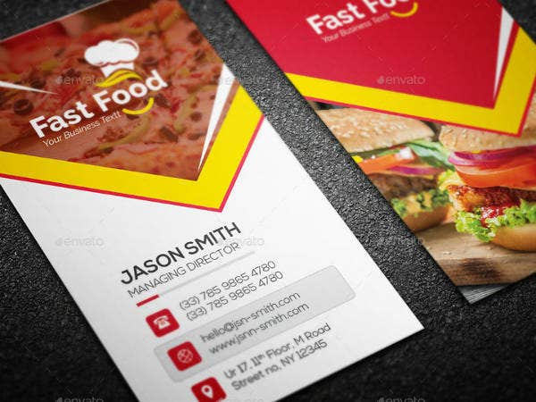 14 fast food business card designs templates psd ai free vertical fast food business card template accmission Images