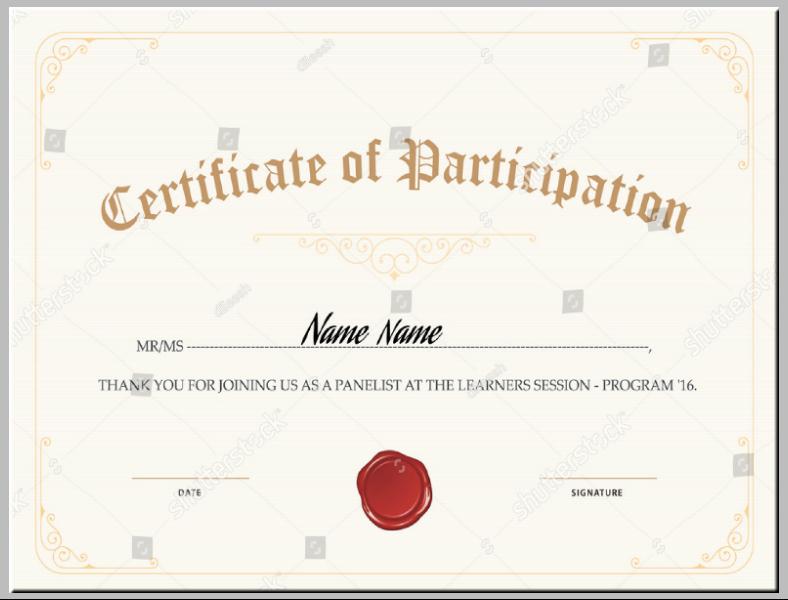 Vintage Elegant Participation Certificate Template