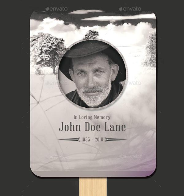 Vintage Funeral Fan Template