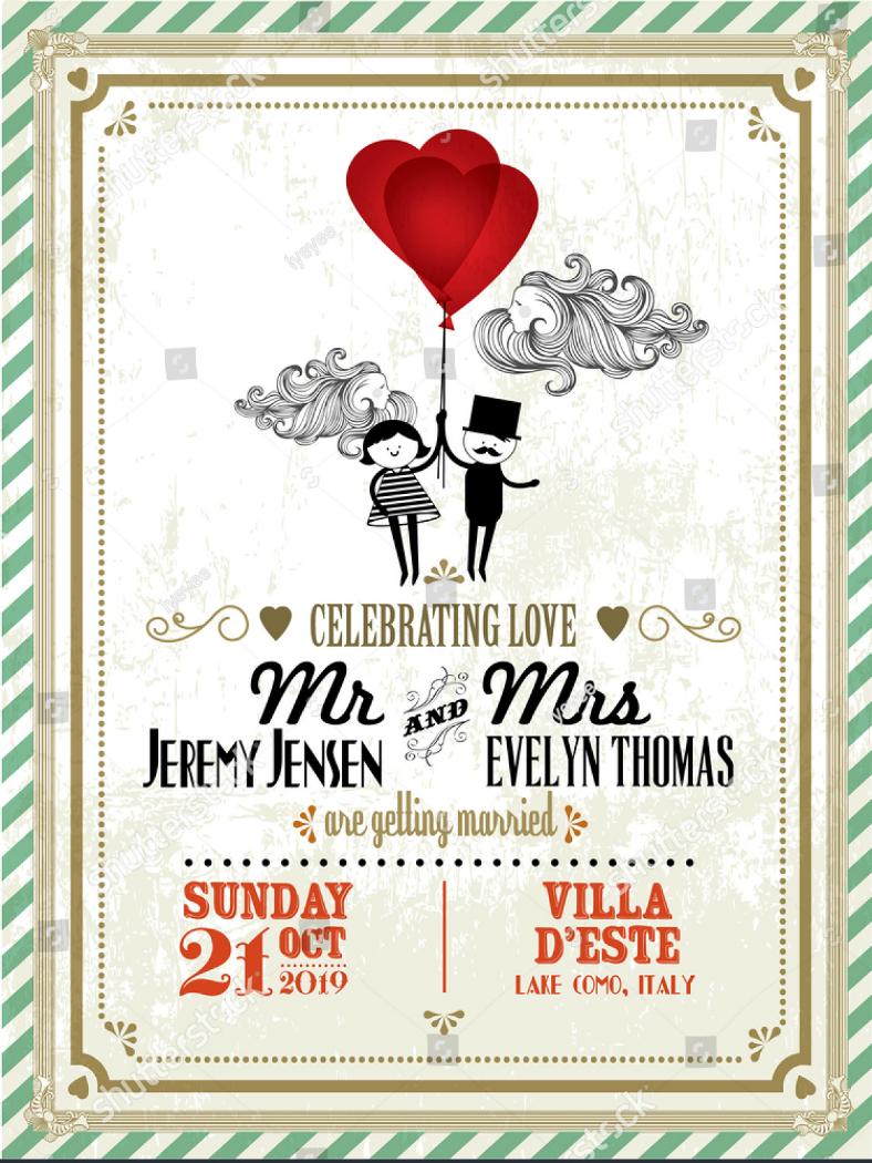 vintage wedding invitation format template 788x1050