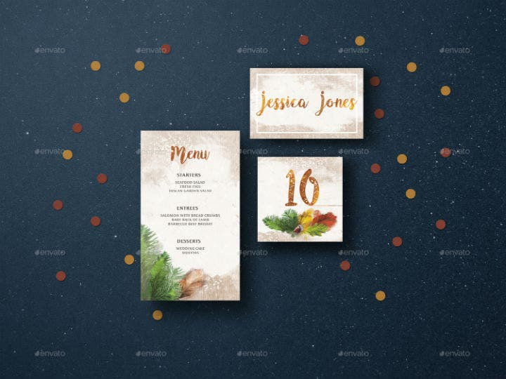 warm autumn wedding table number template suite