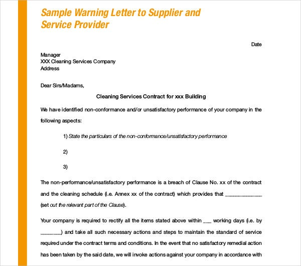warning letter to supplier
