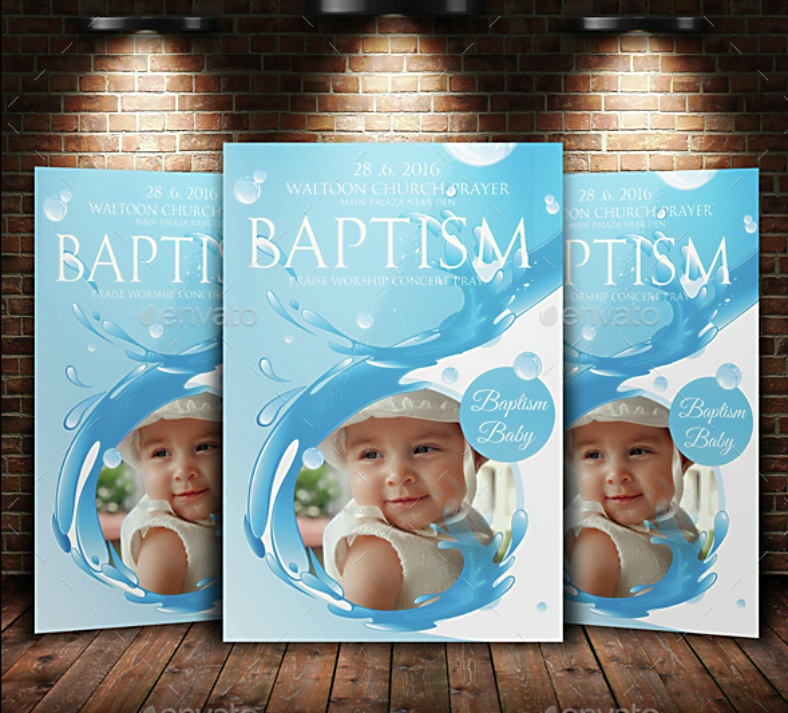 Water Border Baptism Invitation Template