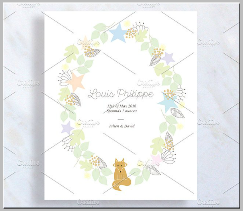 watercolor flowers baby announcement postcard 788x684