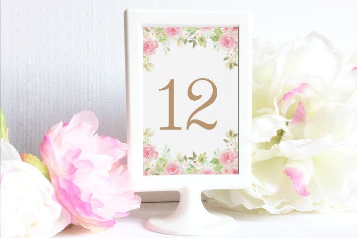 watercolor flowers wedding table number card template