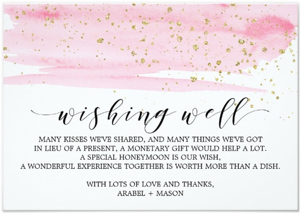 Watercolor Wedding Wish Card Template