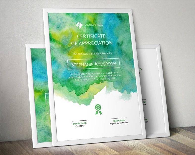 watercolour certificate template 788x627