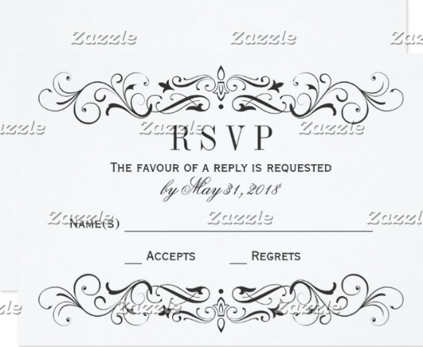 wedding rsvp postcards elegant flourish