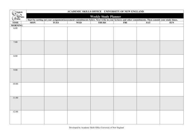 9  study planner templates