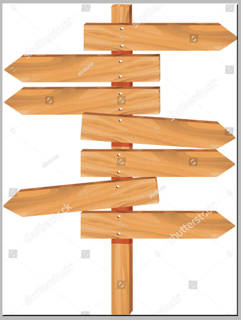 White Backdrop Wooden Multidirection Signs Template