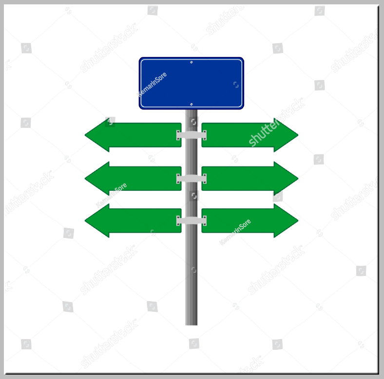 White Background Stock Direction Sign Template