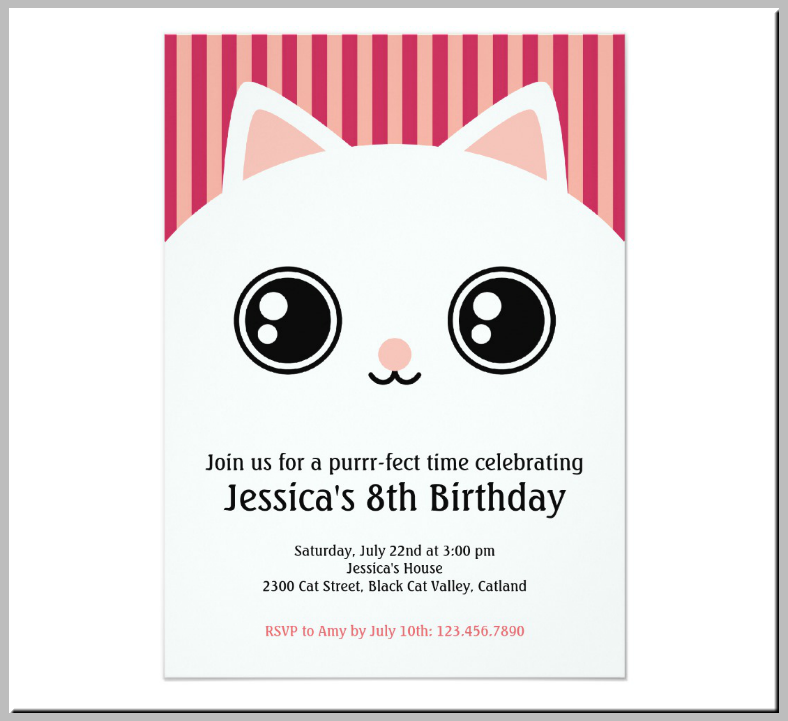White Fluffy Kitty Birthday Invitation Template