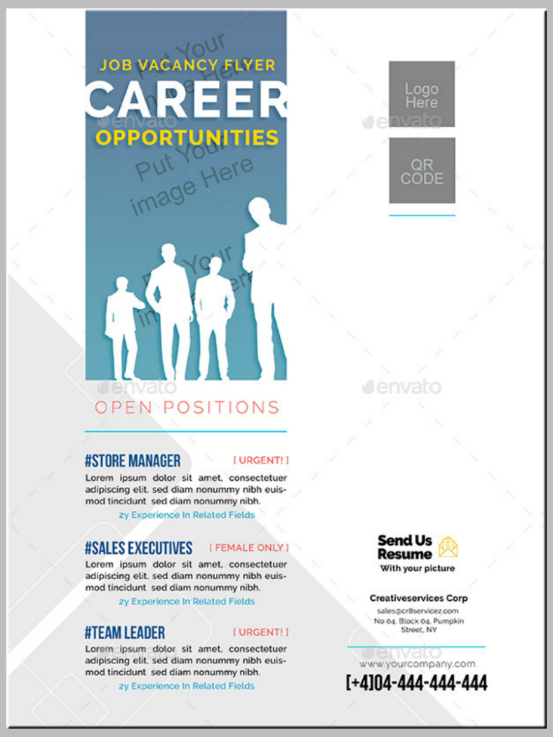 white silhouettes job vacancy flyer template 788x1050