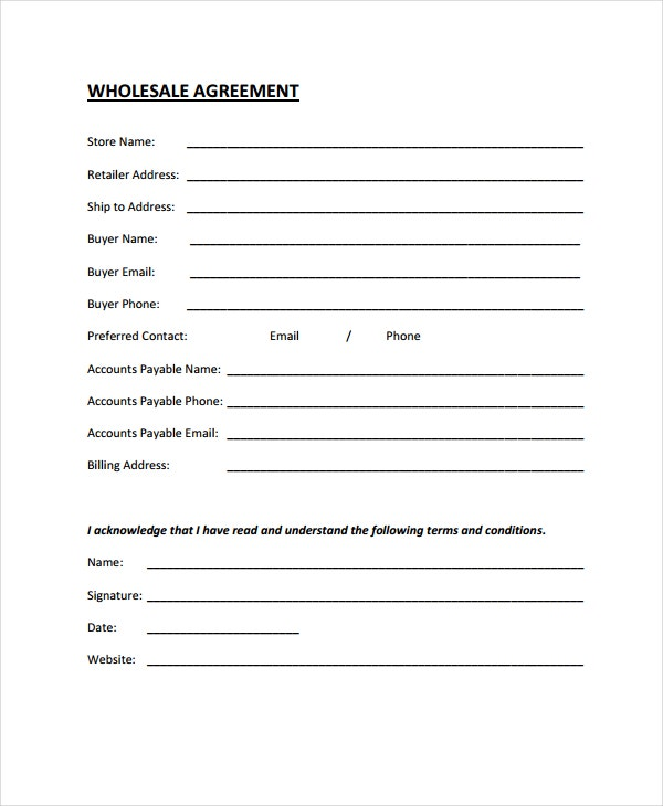 wholesale agreement eample