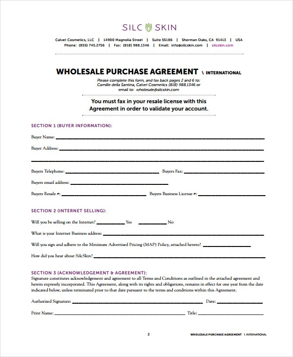 15  wholesale agreement templates