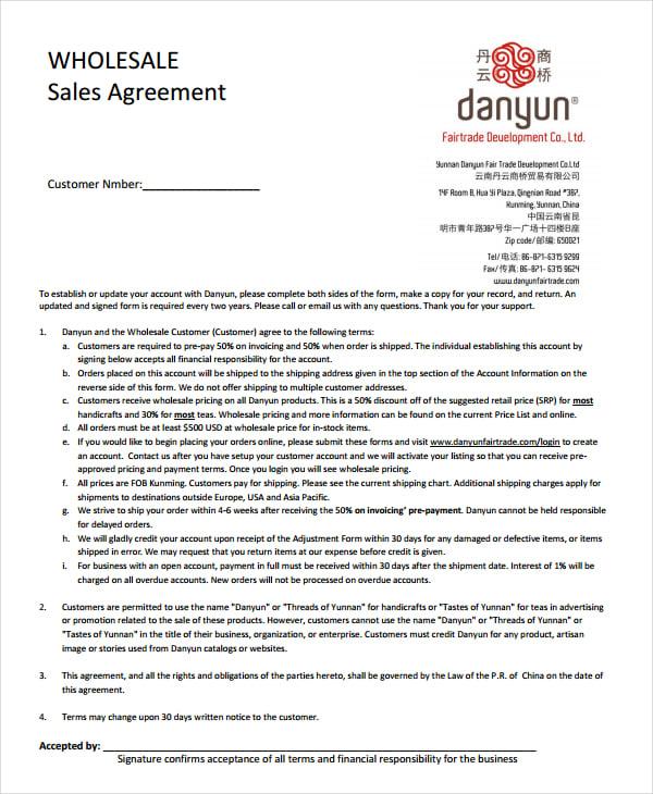 wholesale sales agreement