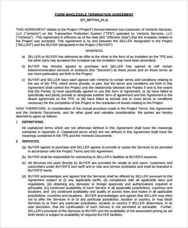 wholesale termination agreement