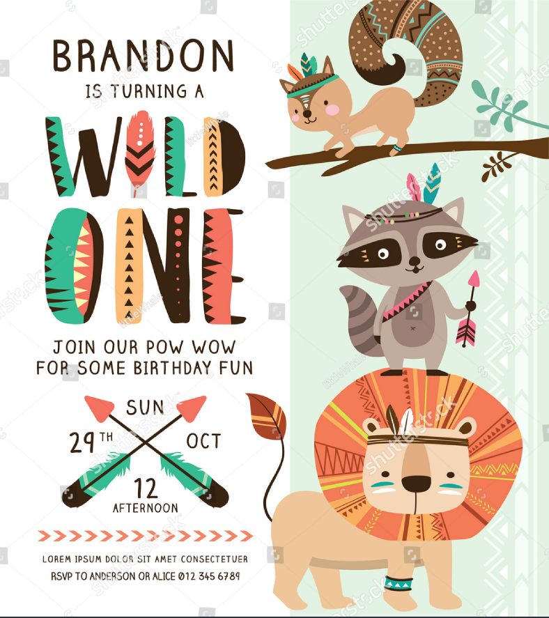wild ones animal invitation template 788x887