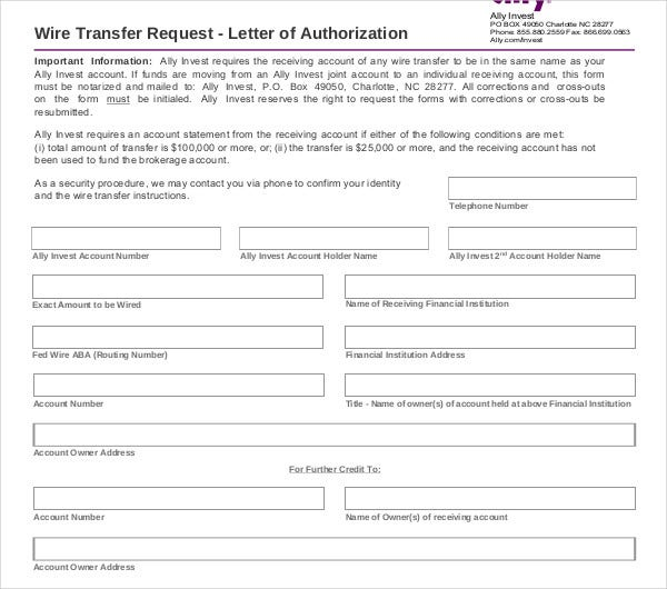 wire transfer request letter