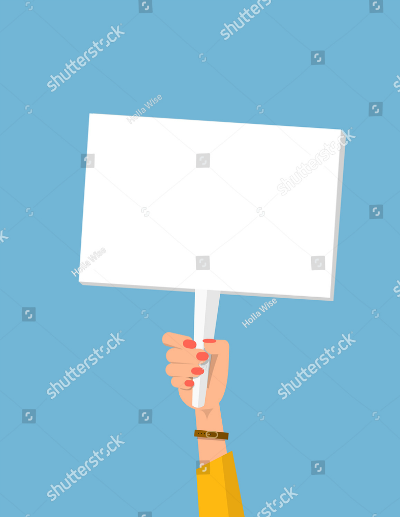 Womans Hand Holding Placard Template