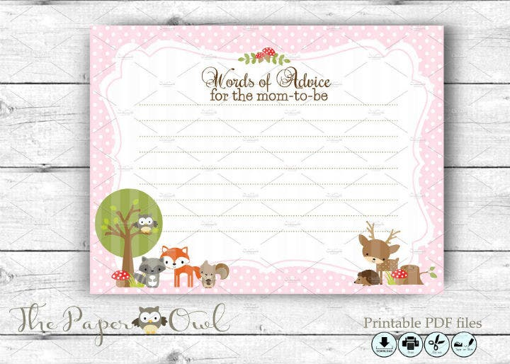 woodland-pink-baby-advice-card-template
