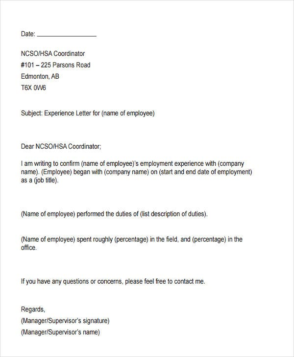 work experience letter from employer