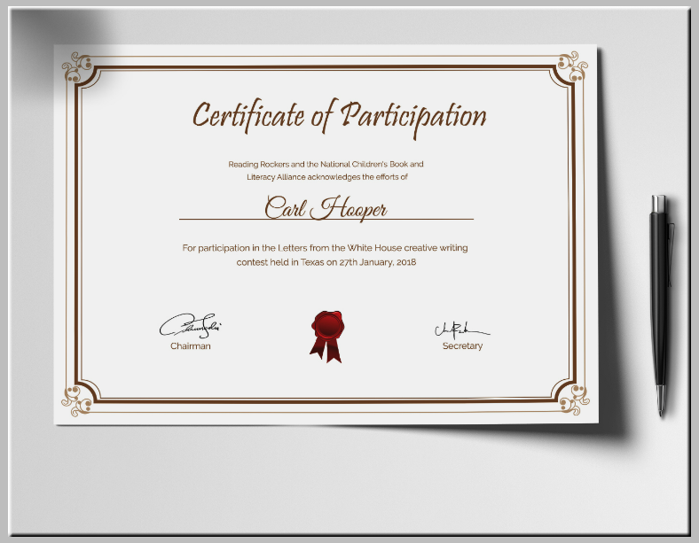 writing contest certificate of participation template 788x613
