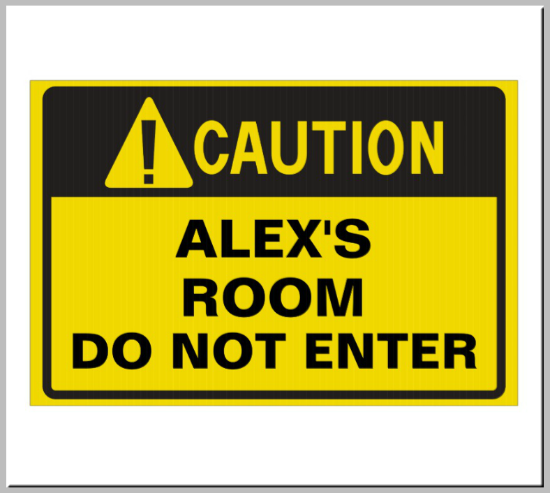 Yellow Bedroom Caution Signage Template