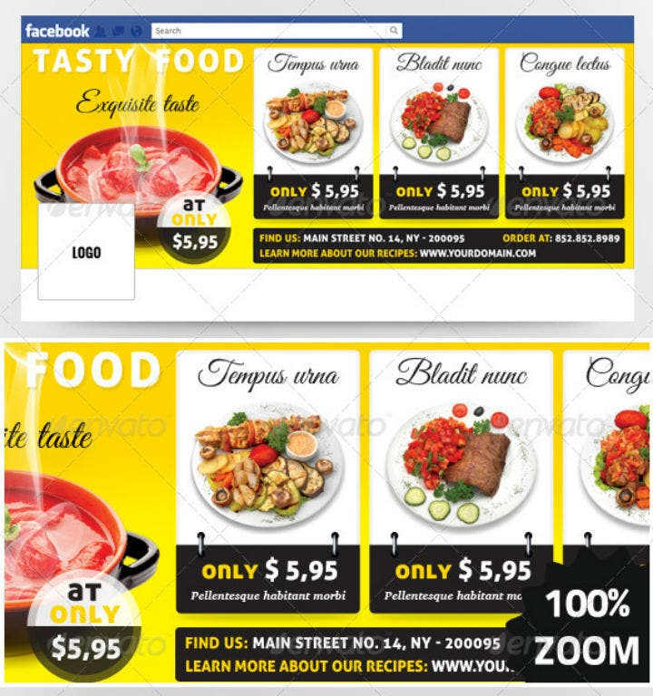 yellow restaurant timeline cover template