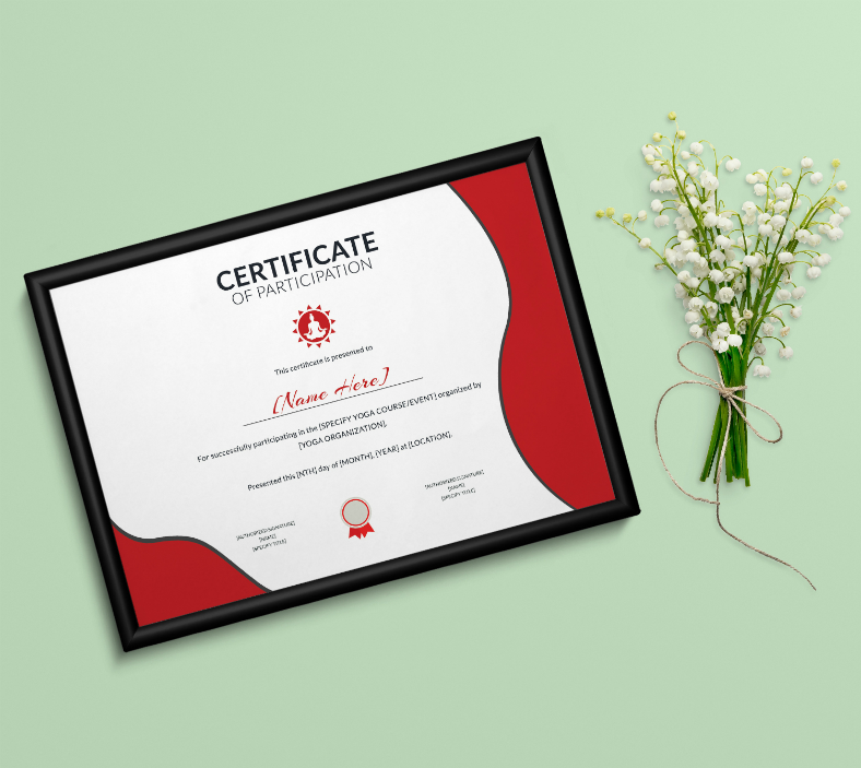 Yoga Themed Certificate of Participation Template