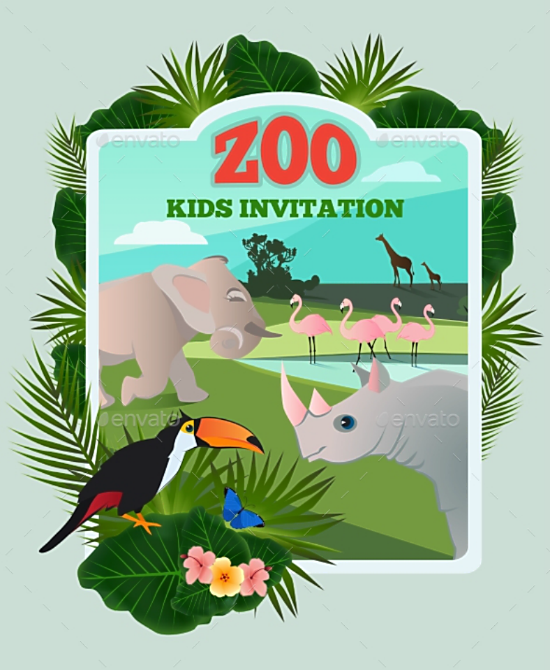 Zoo Themed Animal Invitation Template