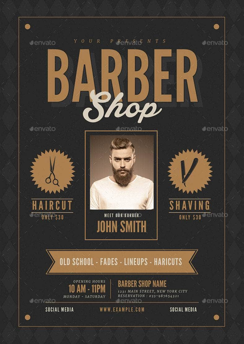 barbershop hipster flyer template 788x1114