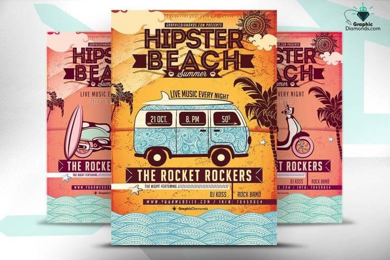 beach-hipster-flyer-template