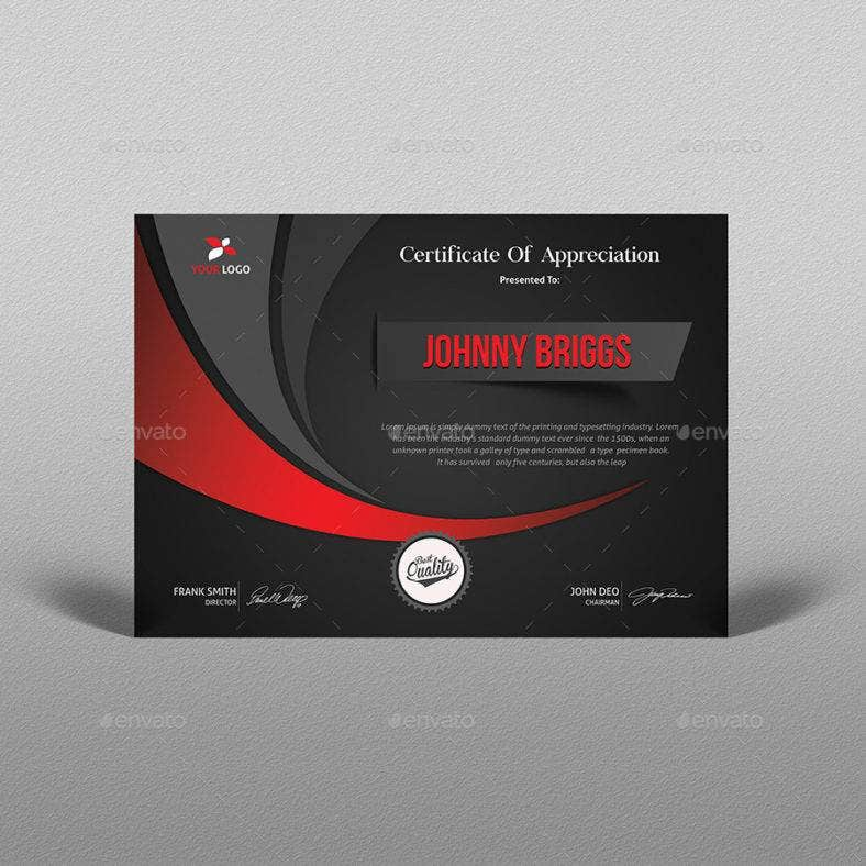 dark certificate of appreciation for training template 788x788