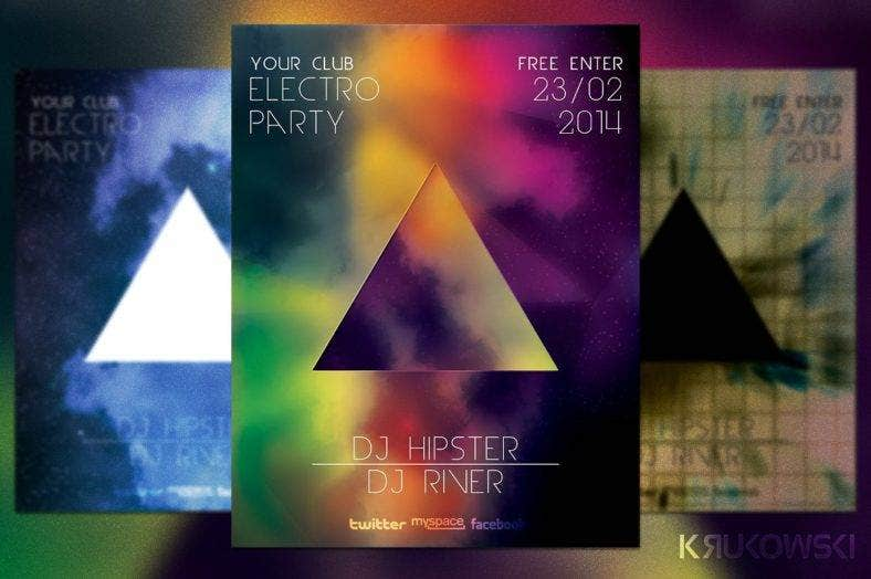 electro-party-hipster-flyer-template