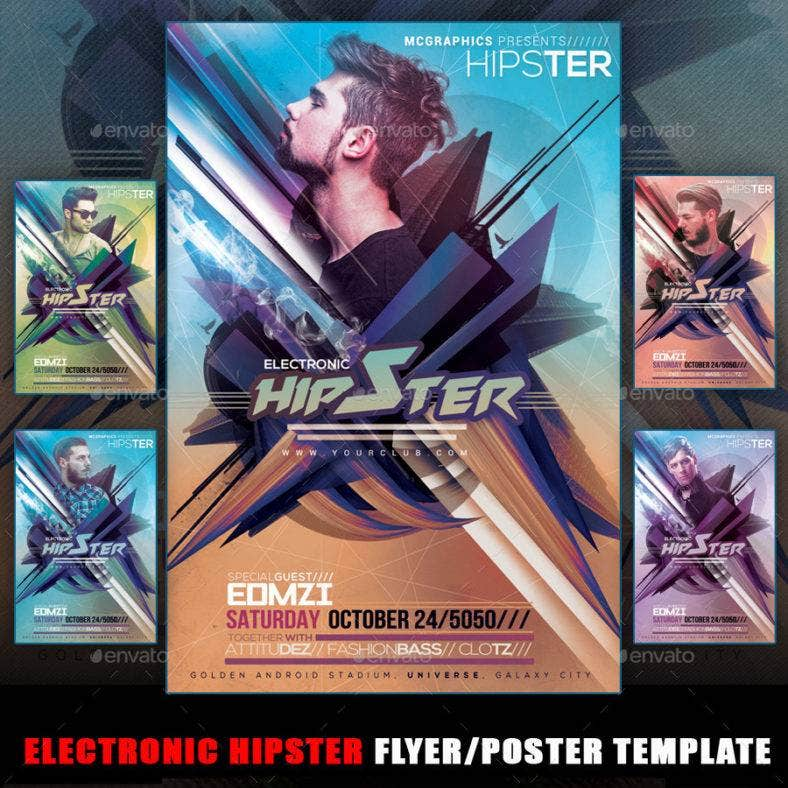 electronic-party-hipster-flyer-template